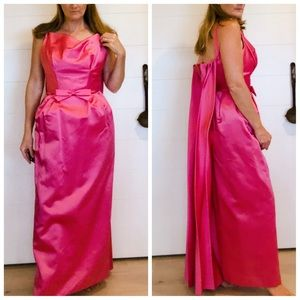Vintage 50s Hot Pink Debutant Gown Small/ 4 maxi
